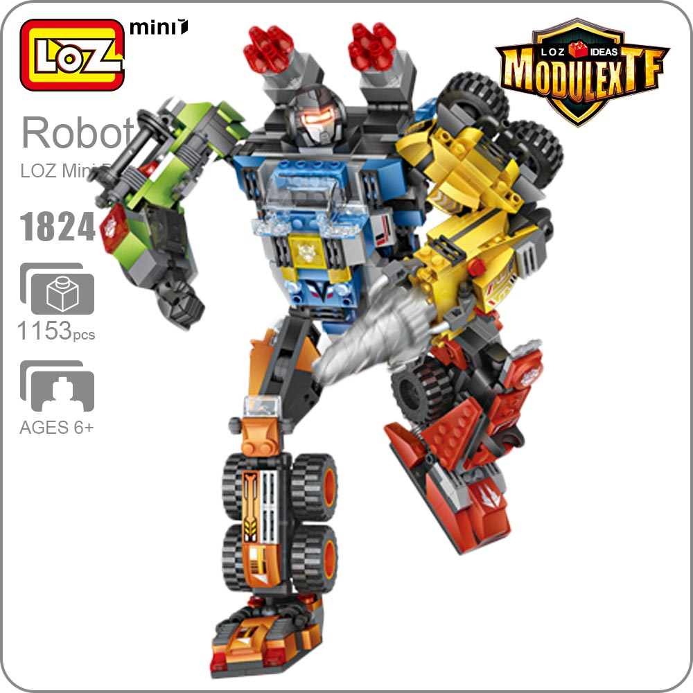 LOZ Mini Blocks Combination Robot Toy Action Figure Plastic Assembly Toys For Boys DIY Building Block 5 IN 1 Deformation 1824 right combination headlight assembly for lifan s4121200