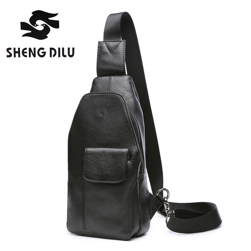 2018 Winter Bag Men Chest Pack Single Shoulder Strap Back Bags Genuine Leather Travel Men Crossbody Bags Vintage Chest Bag 3631 miwind men chest pack leather genuine cowhide back bag crossbody bags women sling shoulder bag back pack travel bag tbp1148