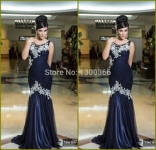Modern Arabic Mermaid Evening Dress Appliqued Dark Blue O-Neck Chiffon Long Muslim Abaya In Dubai Islamic Clothing For Women