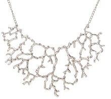 Classic Geometric Vintage Hollow rama de la flor del Collar del Collar mujeres coral colgantes de Metal de plata chapado en oro Collar de cadena