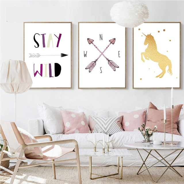 Unicorn Arrow Nursery Canvas Art Posters And Prints Cartoon Painting Nordic Wall Pictures Kids Bedroom Decoration
