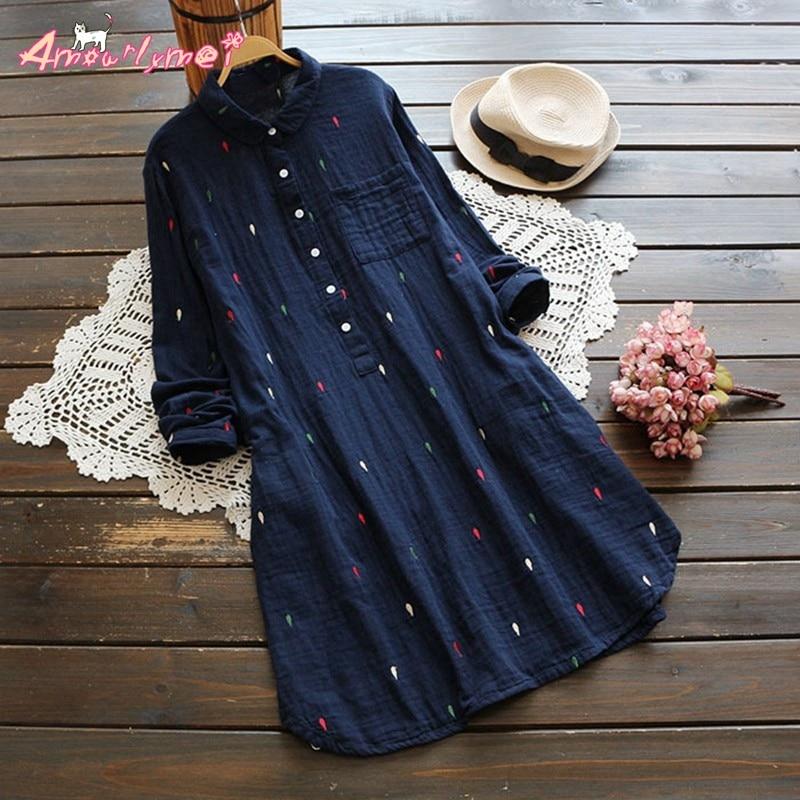 2016 Autumn Women Dress Mori Girl Loose Turn Down Collar Dot Embroidery Long Sleeve Cotton Linen