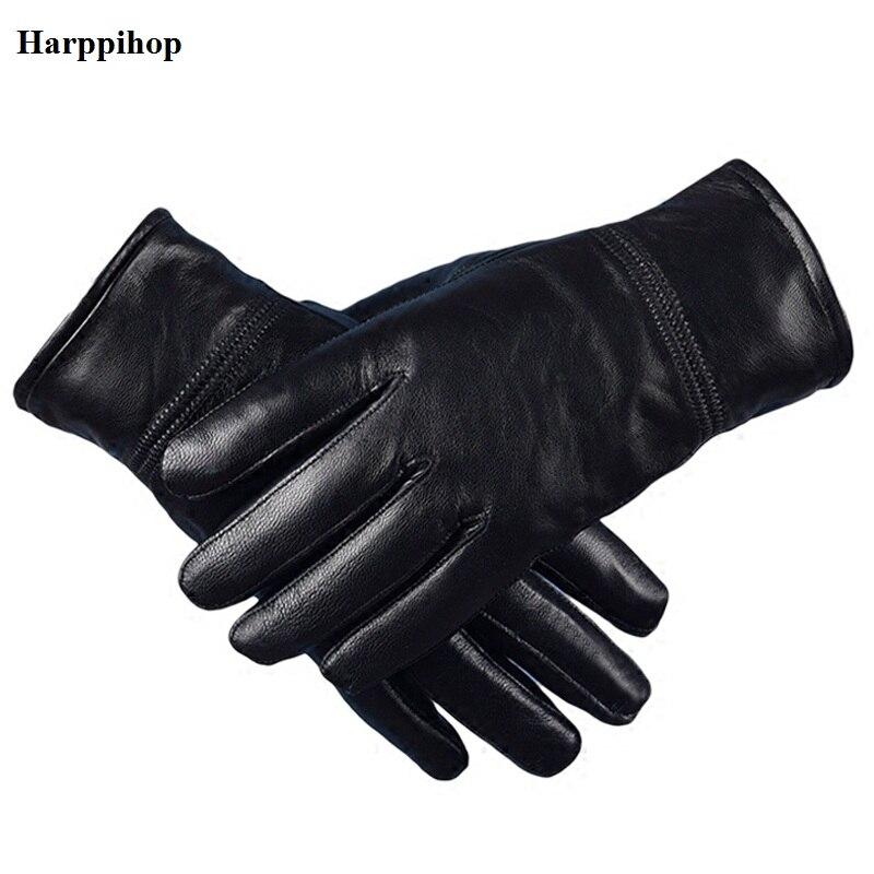 Harppihop Men's Genuine Leather Gloves Real Sheepskin Black No Touch Screen Gloves  Fashion Brand Winter Warm Mittens New G1005