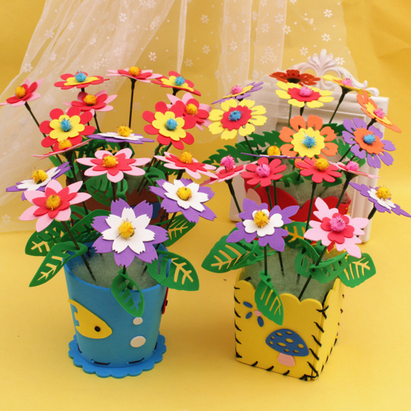 1 pcs Creative Handmade EVA Flower Pot Toy Kids DIY Craft Kits Creative Kindergarten Educational Children Girls 3-6 years Series