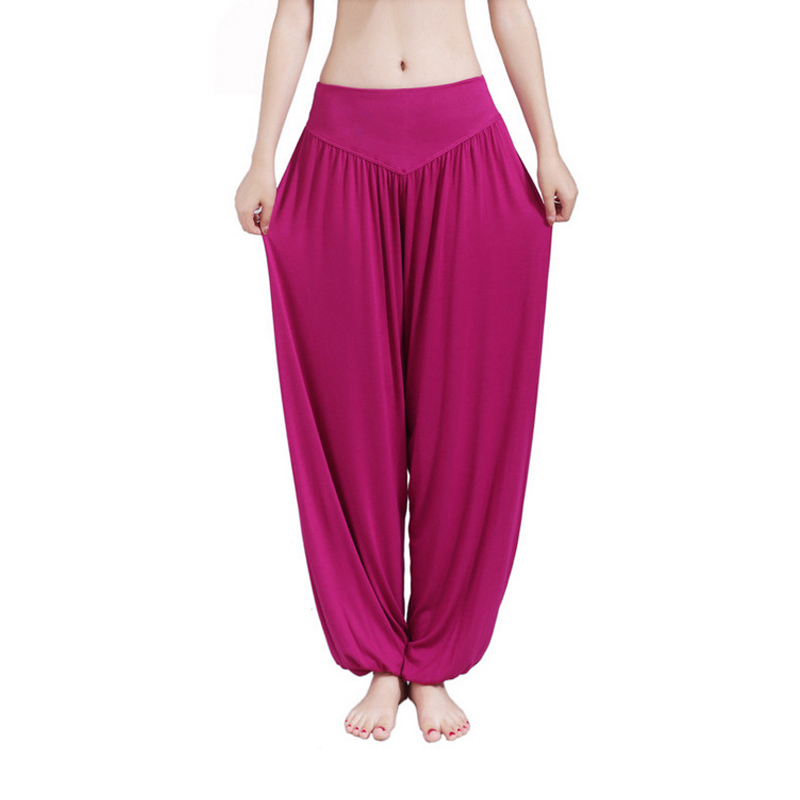 MOBTRS Women Casual Harem Pants High Waist Dance Pants Woman Fashion Wide Leg Loose Trousers Bloomers Pants Womens Plus Size