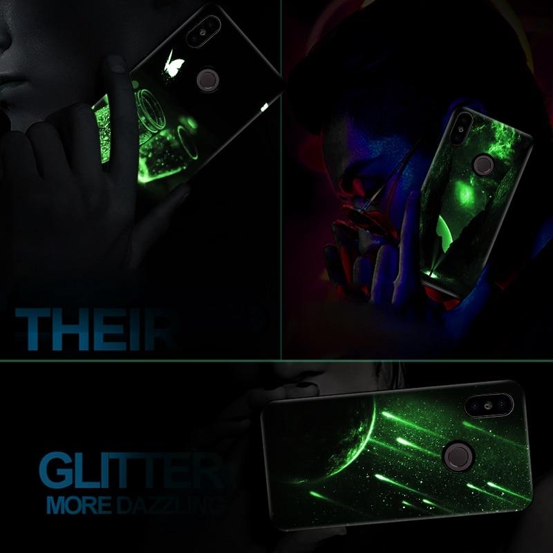 Luminous Glass Case For Xiaomi Redmi Note 5 5 Plus 6 Pro 6A 4X Pattern Phone Case For Xiaomi Mi A1 A2 Lite Silicone Cases Cover