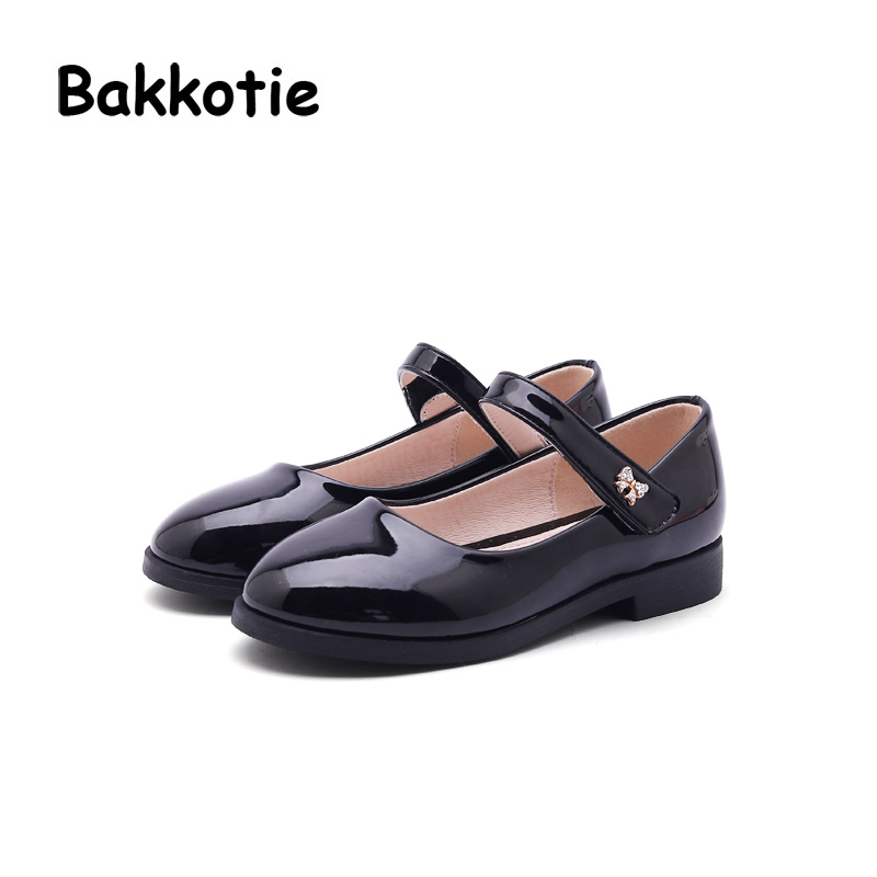 Bakkotie 2018 Spring New Fashion Baby Girl Patent Leather Shoe Children Casual Princess Flat kid Sweet Brand Party Mary Jane