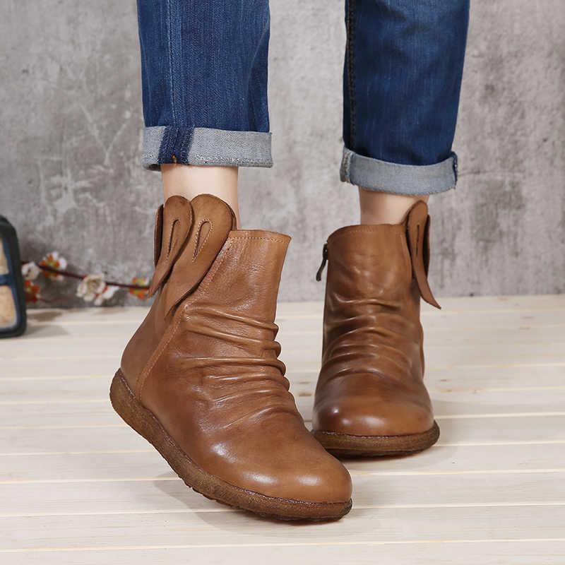 VALLU 2018 El Yapımı Ayakkabı Kadın düz çizmeler Hakiki Deri Pilili Yuvarlak Ayak Vintage Kadınlar yarım çizmeler