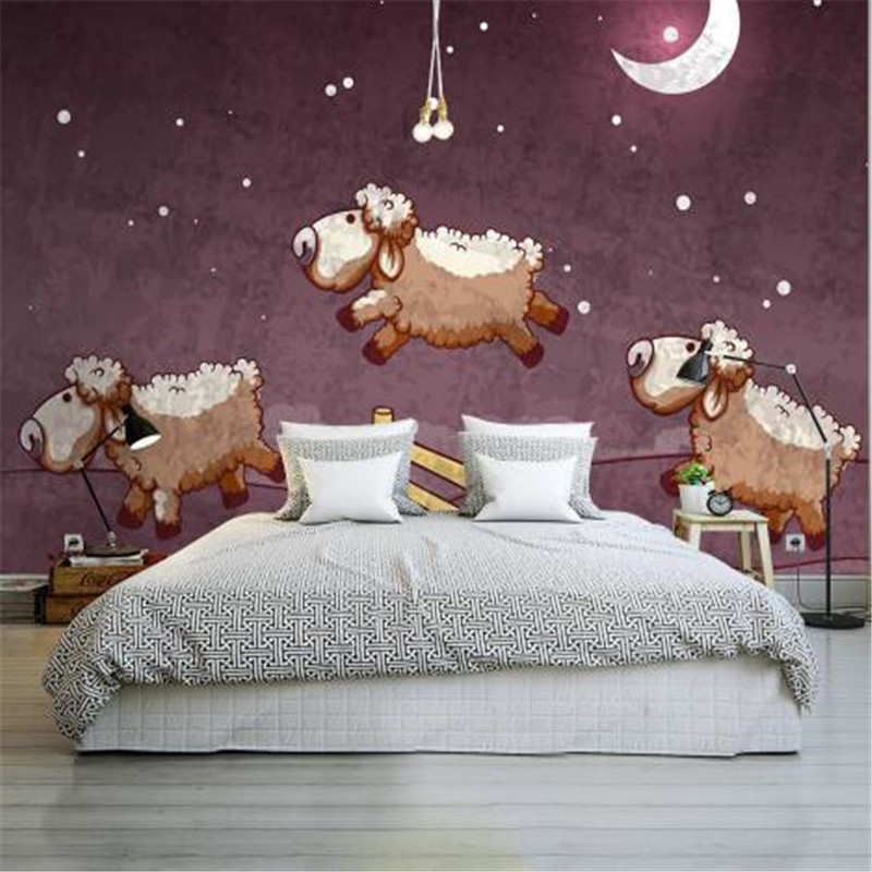 Cartoon Wallpapers Purple Mural Wallpaper for Kids Room Goat Photo Wallpapers for Living Room Custom Wall Papers Home Decor milan classical wall papers home decor non woven wallpaper roll embossed simple light color living room wallpapers wall mural