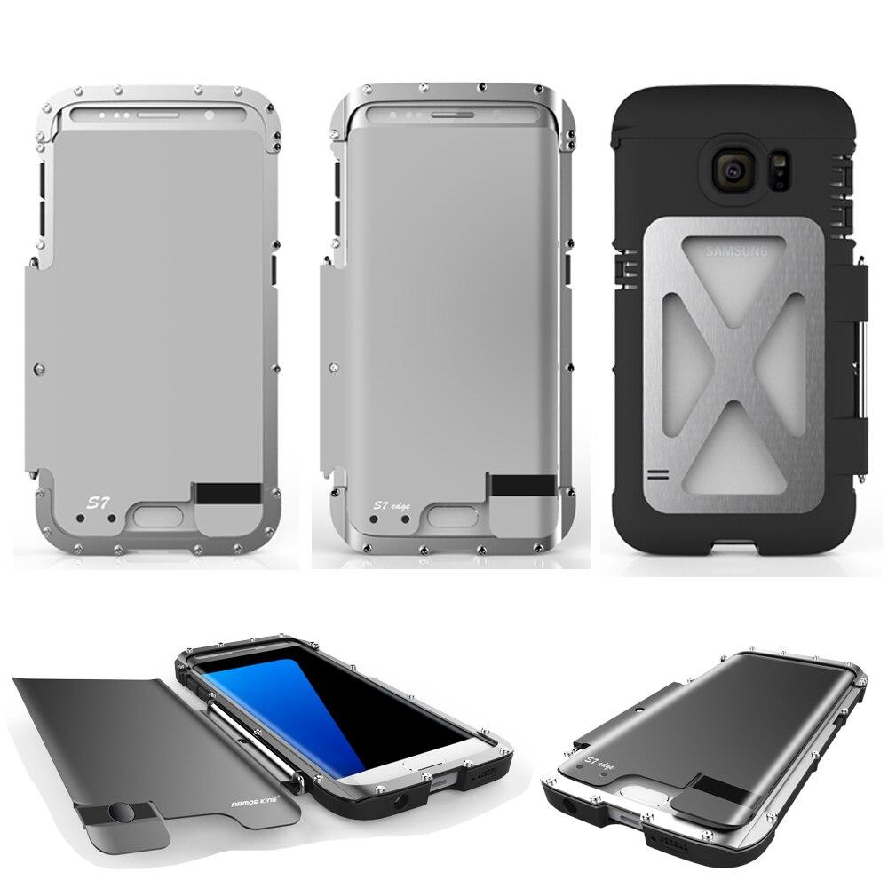 bilder für RÜSTUNG KÖNIG Voller Schutz Freien Shockproof Aluminium Metall Flip Abdeckung Fall Rüstung für Samsung Galaxy S7 & S7 rand ORIGINAL