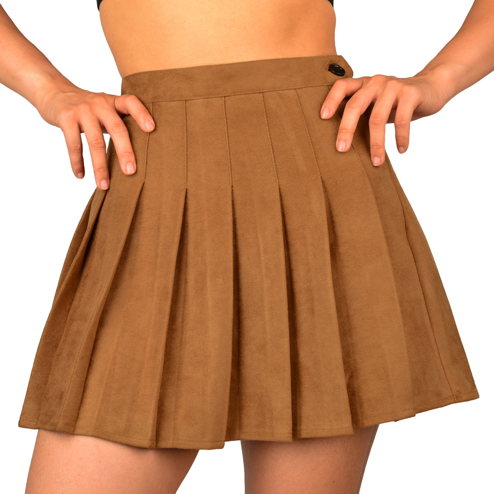 SJJH New Fashion Women Pleated High Waist Skirts Ladies Faux Suede Leather Preppy Style Winter Mini Skirts Party Sexy Skirts