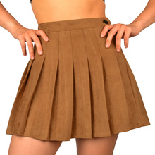 SJJH New fashion Women Pleated High Waist Skirts Ladies Faux Suede Leather Prepp