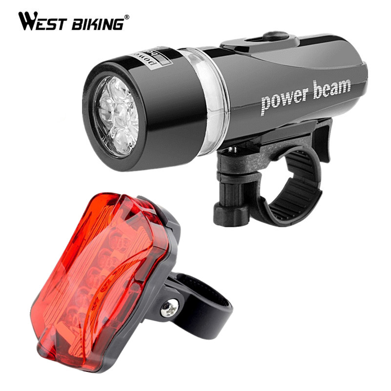 West Biking Waterproof LED Lamp Bike Cycling Front Head Light + Rear Safety Flashlight B ...