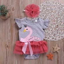 Sleeveless Swan Shaped Pajamas for Newborn Girls
