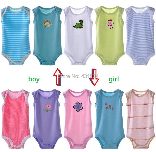 Bebê bodysuit infantil roupas sem mangas e macacão 100% algodão 5 unidades/pacote