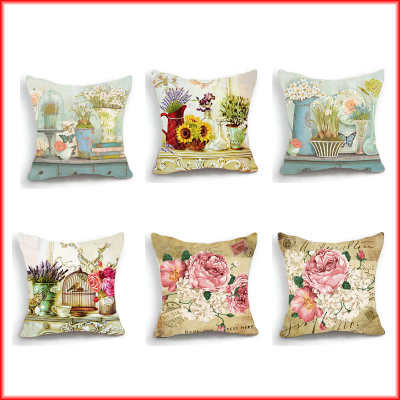 Arranging Throw Pillows On Sofa: Nordic Sunflower Cushion Cover Hand Painted Flower