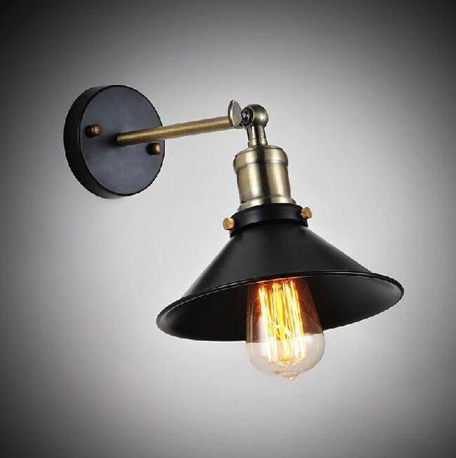 ФОТО Vintage American Country Personality Loft Antique Industrial Black Wall Sconce Lamp Bathroom Beside Modern Lighting Fixture 20CM