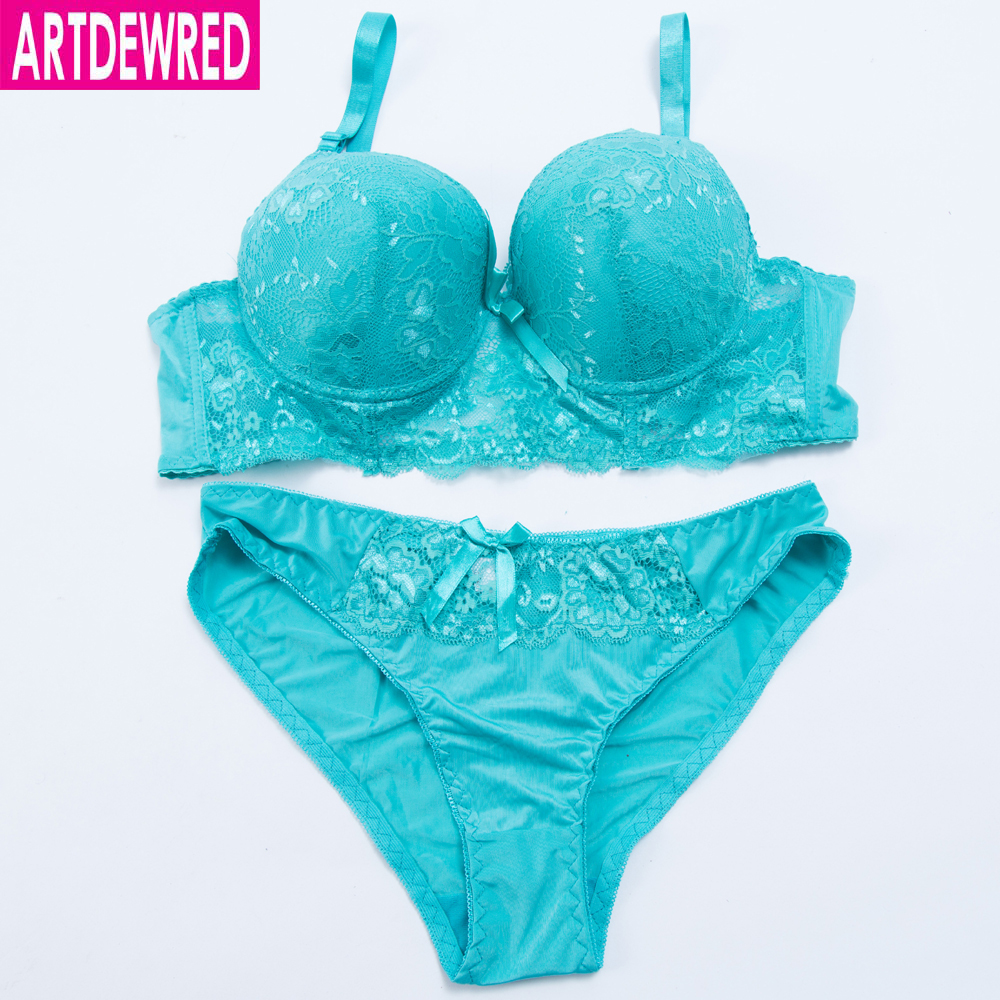 ARTDEWRED Brand Embroidery CD France Large Size   Bra     Brief     Sets   Cotton Sexy Women   Bra     Set   Push Up Lace Underwear Big Panty   Set