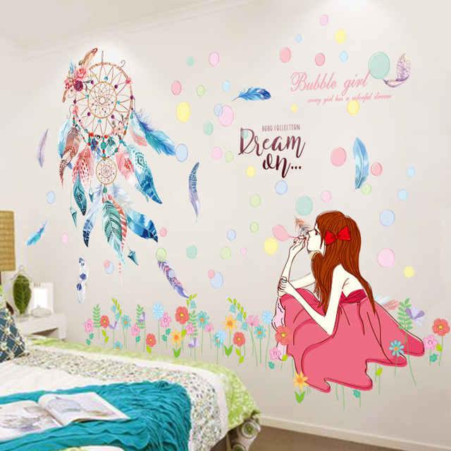 [SHIJUEHEZI] Dreamcatcher Feathers Wall Stickers DIY Cartoon Girl Mural Decals for Kids Rooms Baby Bedroom Dormitory Decoration