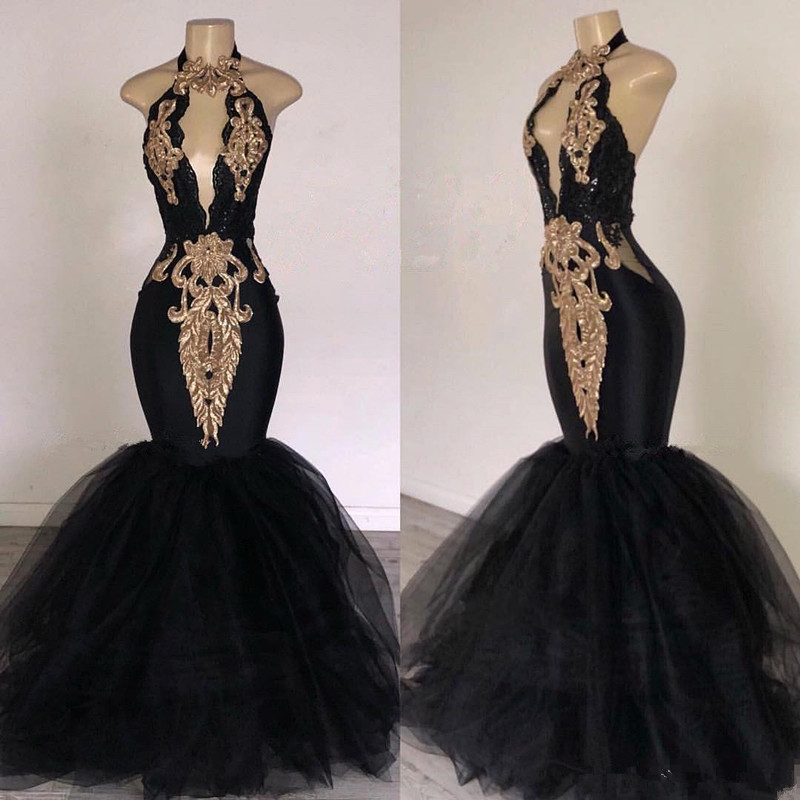 Black Prom Dresses with Gold Appliqued Mermaid South Africa Formal Evening Dress Halter Neck Sweep Train Occasion dress