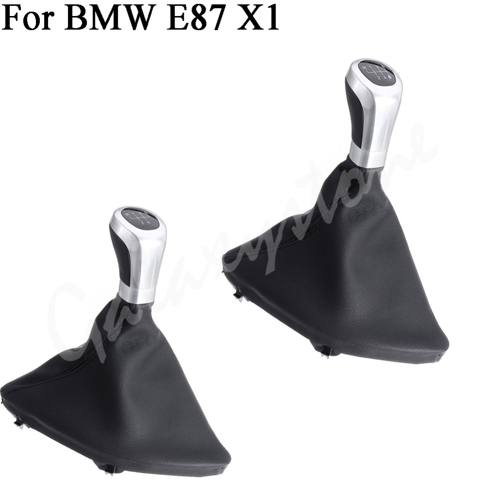 5/6 speed For BMW E87 X1 PU Leather Gear Shift Knob Stick Cover Left Hand Drive Car PU Leather