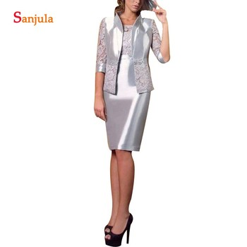 Silver Lace Satin Mother Of The Bride Dress With Half Sleeves Jacket Elegant Sheath Knee Length Groom Mother Gowns Women MY22