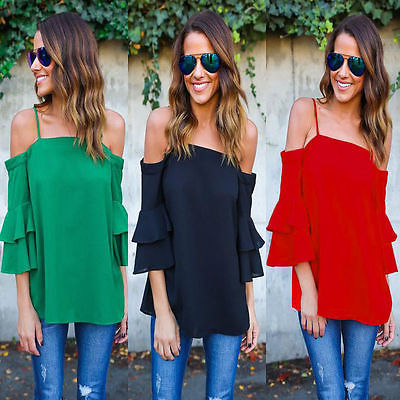 1e76cbeb19d5f Solid Women Summer Strapless Blouse Off Shoulder Loose Casual Shirts Tops  3 4 Ruffles Sleeve Red Black Green Blouse Clothes