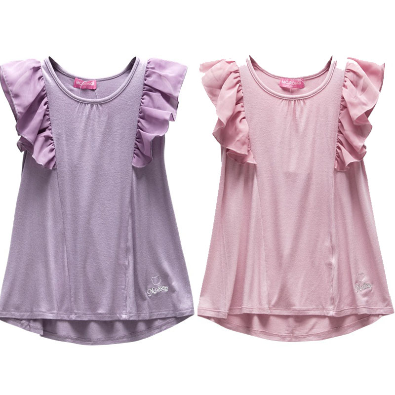 Lace design child girl tops tee shirt chiffon clothes kids Girl t shirts design