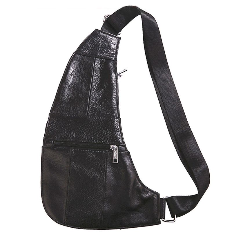 Men's PU Leather Chest Sling Crossbody Shoulder Bag Phone Pouch Casual Pack(China)
