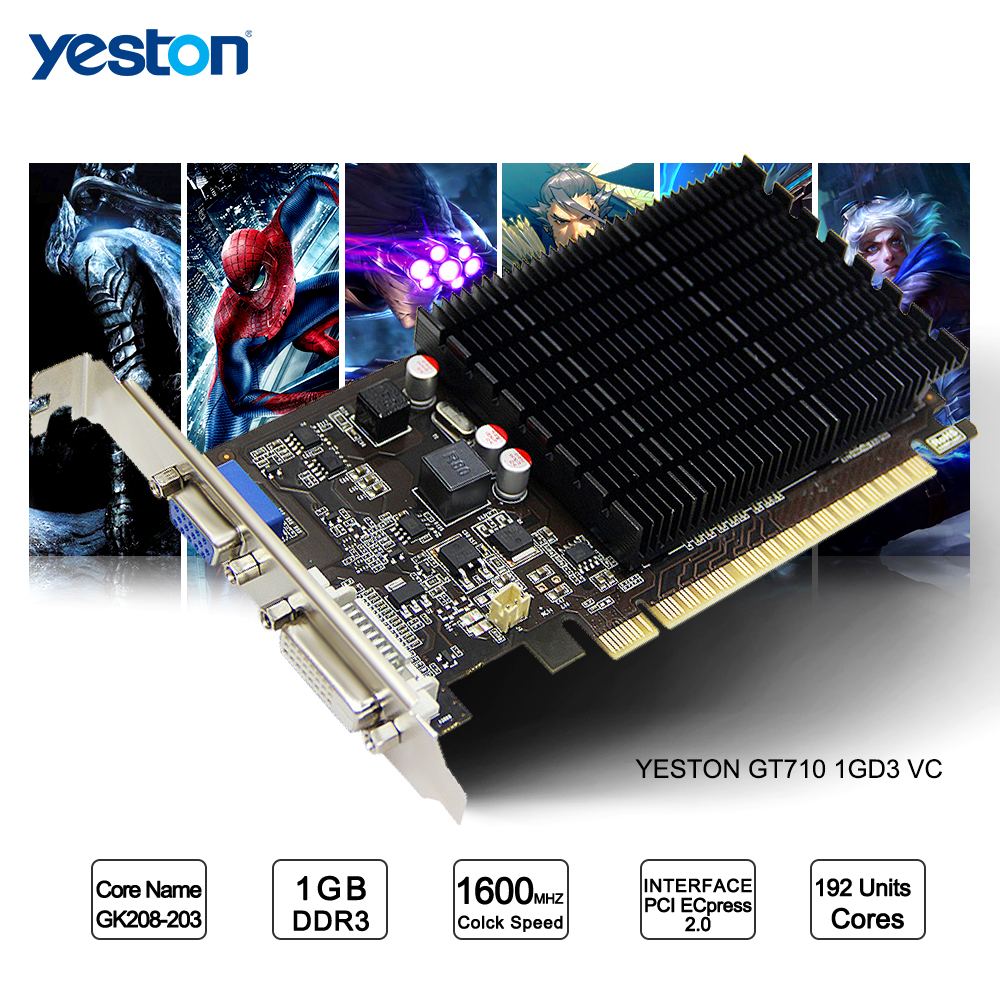 Yeston GeForce GT 710 GPU 1GB GDDR3 64 bit Gaming Desktop computer PC Video Graphics Cards support yeston radeon rx 550 gpu 4gb gddr5 128bit gaming desktop computer pc video graphics cards support pci e 3 0