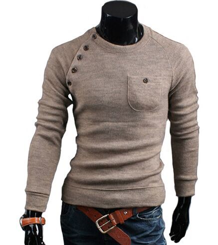 MUAONE 2018 New Brand Mens Sweaters Fashion O-Neck Solid Color Single Pocket Design Long Sleeve Pullover 7712 ...