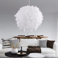 Modern Romantic Luxury White Pink Color Feather Pendant Light Lamp Marriage Room Clothing Store Bedroom Dining