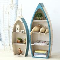 Mediterranean Wrought Iron Creative Sailboat Floor Bookshelf Decoration Ornaments Bookcases Cabinets Home Decoration Furnishing