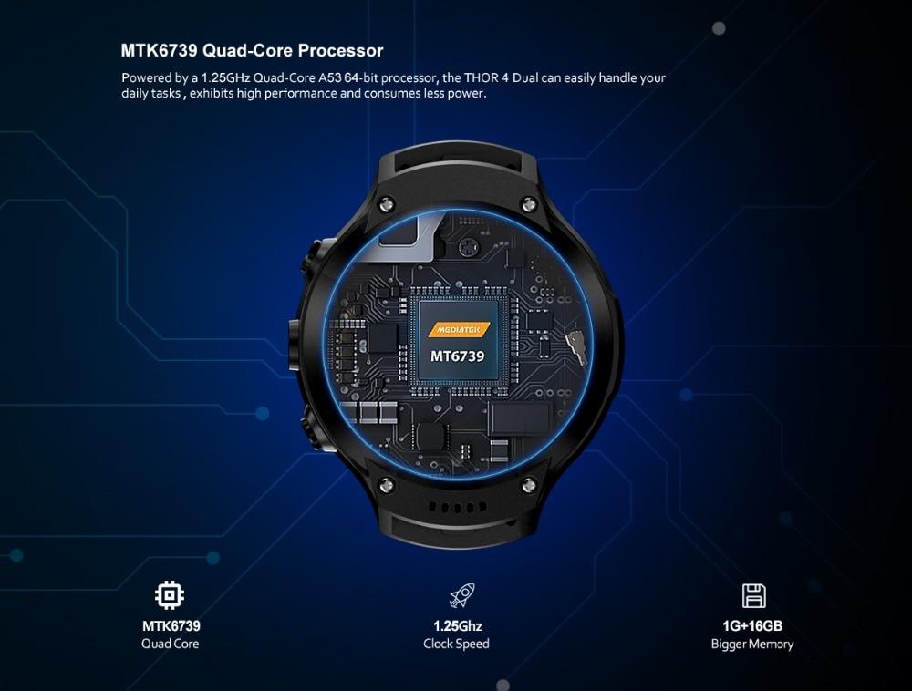 Zeblaze THOR 4 Dual 5.0MP Camera Smart Watch 4G GPS GLONASS Wifi Smartwatches 1GB RAM+16GB ROM Mic Speaker Answer Dial Call 2019 (5)