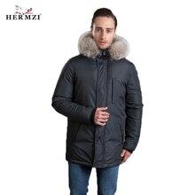 HERMZI 2019 New Men Winter Coat Fashion Jacket Parka Thicken Detachable Hood Raccoon Fur Collar European Size 4XL Free Shipping цены онлайн