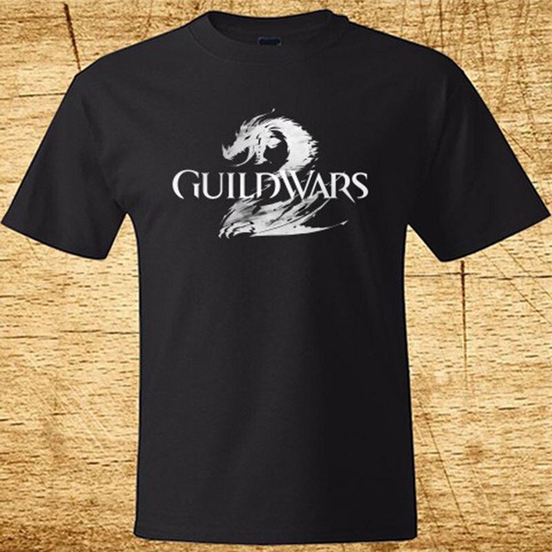 New GUILD WARS 2 GAME Logo Mens Black T-Shirt Size S To 2XL Stranger Things Print T-Shirts Original Tops Men T Shirt