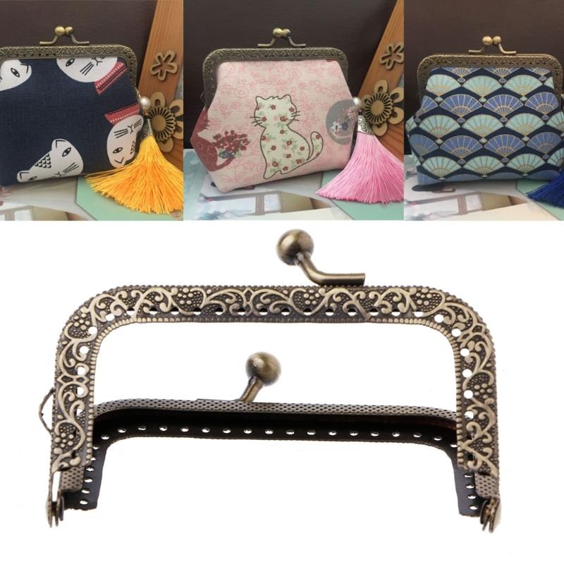 THINKTHENDO 1Pc DIY Purse Handbag Coins Bags Metal Kiss Clasp Lock Frame DIY Craft 8.5cm