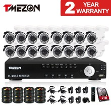 Tmezon 16CH DVR 800TVL Camera Security Surveillance CCTV System 16pcs Outdoor IR Night Vision Bullet Waterproof 1TB 2TB HD Kit