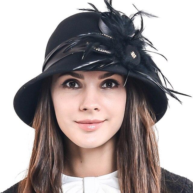 HISSHE Womens Wool Fedora Hat Female Elegant Plumy Felt Bucket Winter Hat  Lady Fashion Feather Church Dress Cloche Hat 4a0dfd2e99b