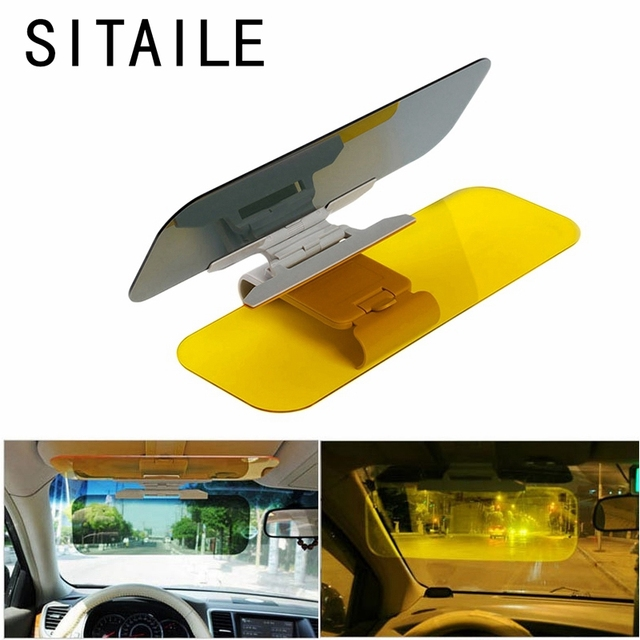 SITAILE Car Sun Visor HD Car Anti-Glare Dazzling Goggle Day Night Vision  Driving Mirror UV Fold Flip Down HD Clear View Visor a8f4babe92e