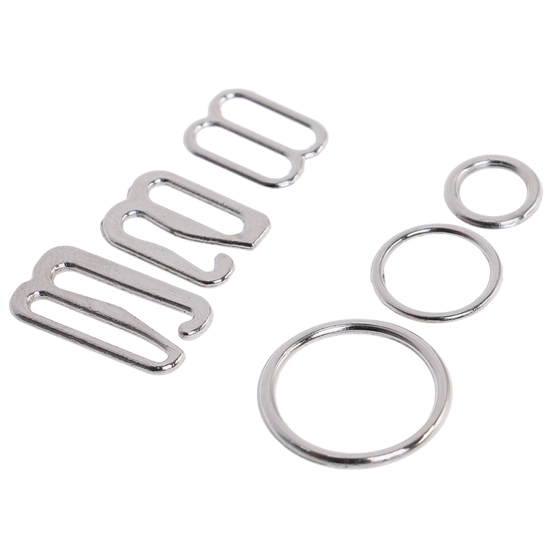 100pcs/Lot Adjustment 6/10/<font><b>15mm</b></font> Metal Bra Strap Adjustment <font><b>Buckles</b></font> Underwear Sliders Rings Clips For Lingerie DIY Accessories image