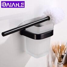 Toilet Brush Holder Black Aluminum Creative Toilet Brush Holder Set Glass Cup Wall Mounted Modern Bathroom Cleaning Brush Holder