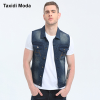 Taxidi Moda 2017 Autumn Mens Denim Vests Letter With Pockets Blue Color Brand Clothing Man S