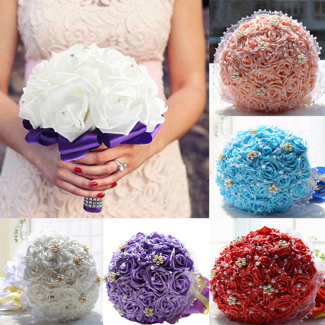 Handmade Artificial Foam Flowers Bouquet Simulation Roses Rhinestones Bridal Toss Bridesmaid For Wedding D370