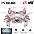 Mini Drone RC Quadcopter Cheerson CX-10W Wifi FPV 0.3MP Cámara LED 4CH CX10 Update Version Mini Drone BNF Helicóptero de Regalo de Juguete