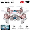 Mini Drone RC Quadcopter Cheerson CX-10W Wifi FPV 0.3MP Cámara LED 4CH CX10 Update Version Mini Drone BNF Helicóptero de Regalo de Juguete