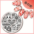 1 Pc Christmas Stamping Plate Heart Deer Design Stamping Template 5.5cm Round Manicure Nail Art Stamp Plate Harunouta-26