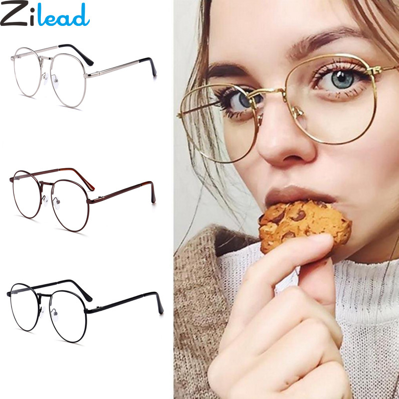 Zilead Retro Oval Metal Frames Myopia Glasses Women Men Short-sight Clear Eglasses With Degree -1.0-1.5-2.0-2.5-3.0-3.5-4.0