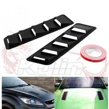 Universal Decorative Hood Vent Pair Vents Air intake Scoop Bonnet Louvers Spoiler Trim ABS Black 16.7x4.5 SSW007