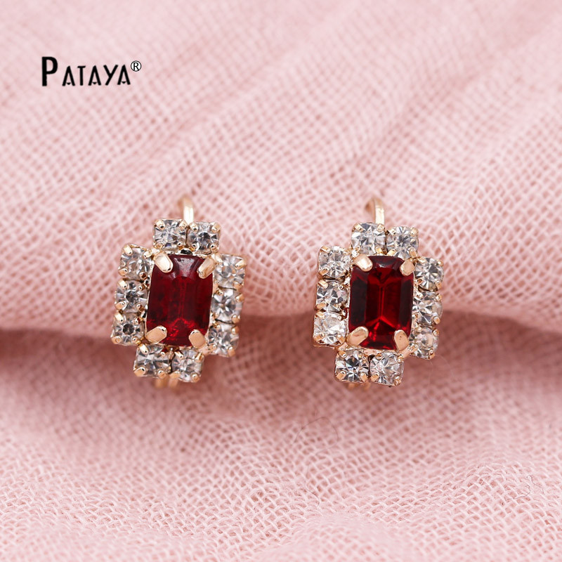 Pataya Geometry Simple Earrings 585 Rose Gold Bohemian Red Square Natural Cubic Zirconia Women Indian Jewelry One Dozen In Drop From